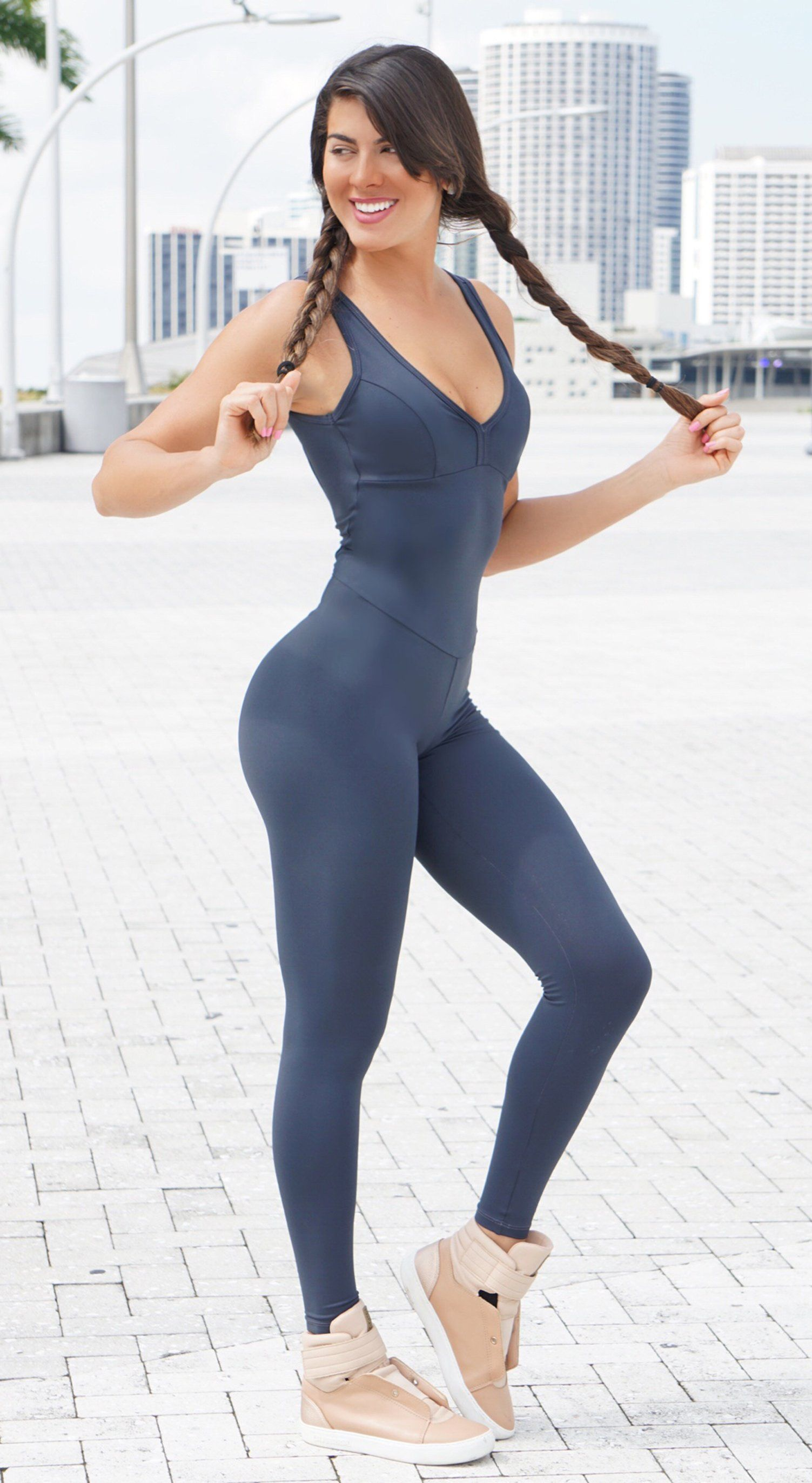 Brazilian Workout Jumpsuit - NZ Yoga Basic Grey