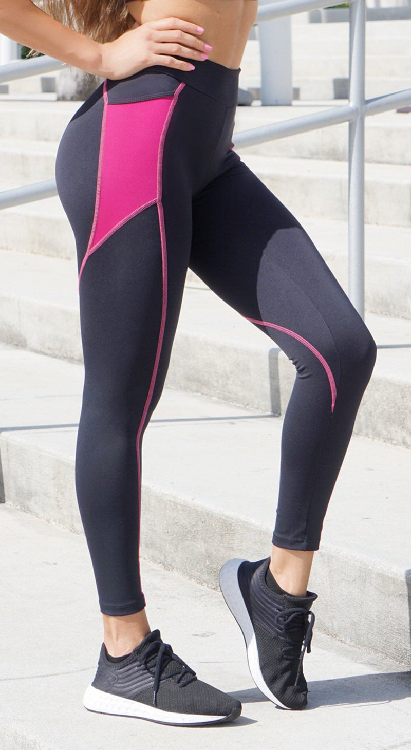 Brazilian Workout Legging - Scrunch Booty Stash Pocket Leggings Black & Pink