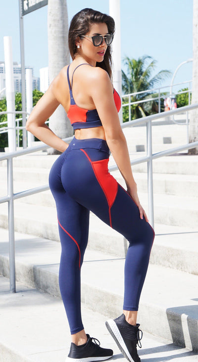 Brazilian Workout Legging - Scrunch Booty Stash Pocket Leggings Navy & Red
