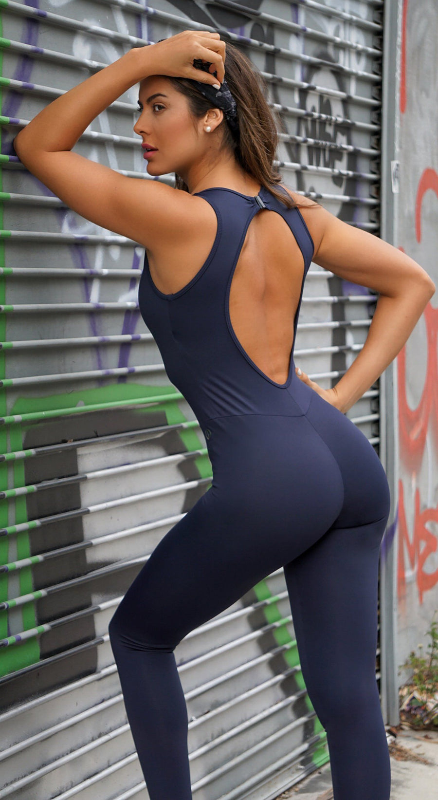 Brazilian Workout Jumpsuit - Ripped Navy Catsuit