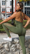 Brazilian Workout Jumpsuit - Straps Racerback Catsuit Olive Green