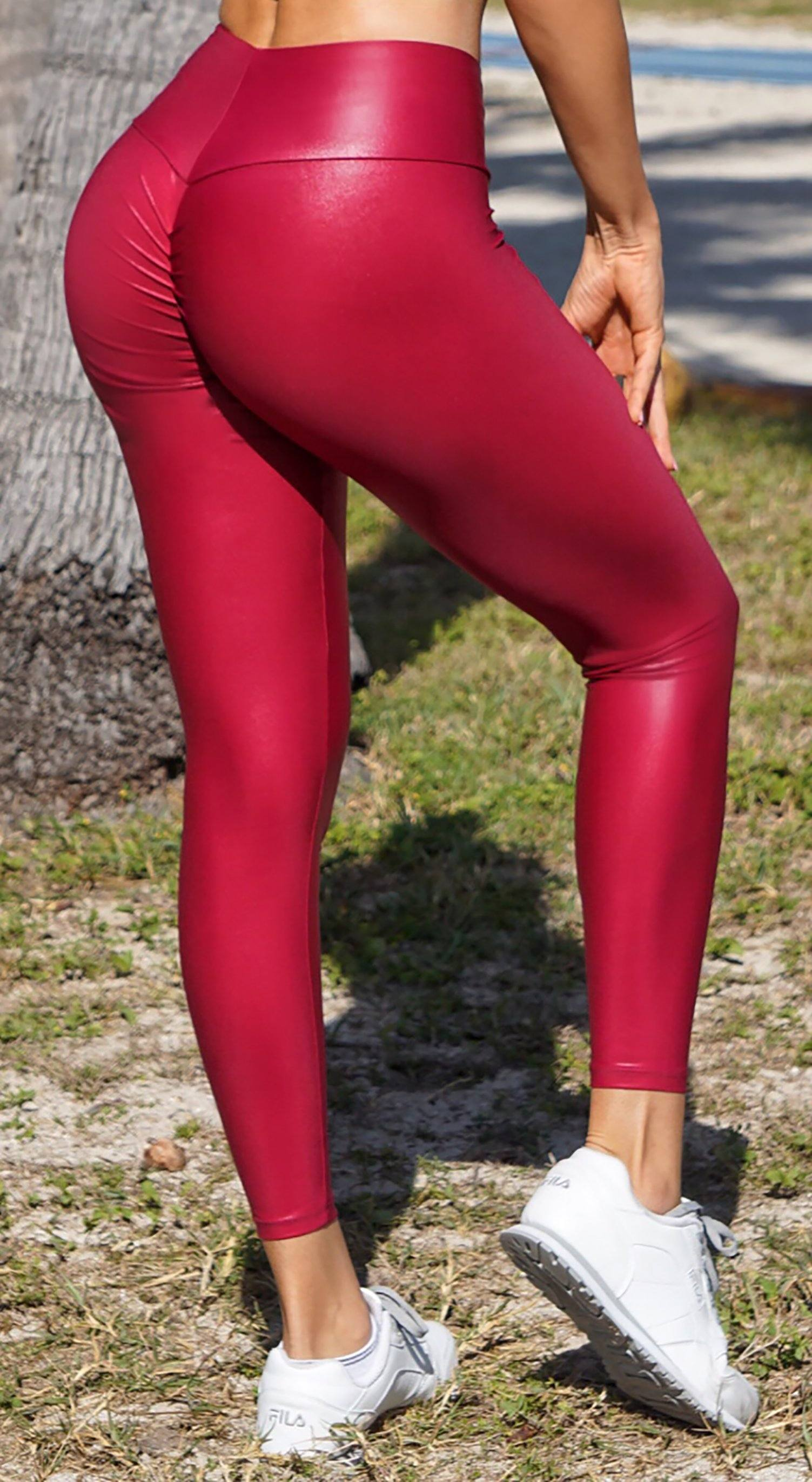 Brazilian Workout Legging - Scrunch Booty Faux Leather Red