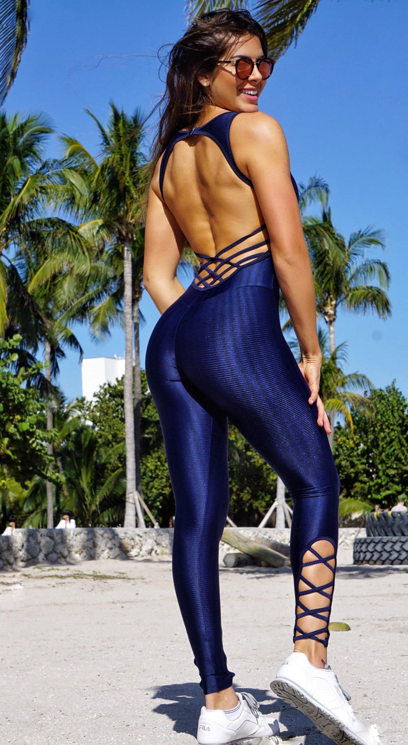 Brazilian Workout Jumpsuit - Blue Diamond