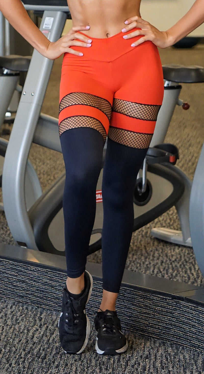 Brazilian Workout Legging - Scrunch Booty Socks Leggings Red & Black