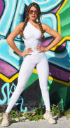 Fitness Jumpsuit - Honeycomb Scrunch Booty One Piece White