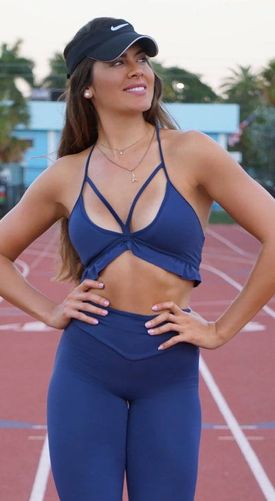 Brazilian Sports Bra - Ruffle Padded Navy Bra