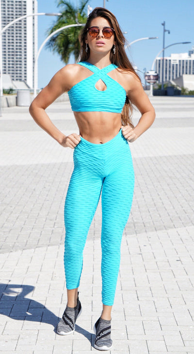 Brazilian Sports Bra - Honeycomb Cross Over Sky Blue