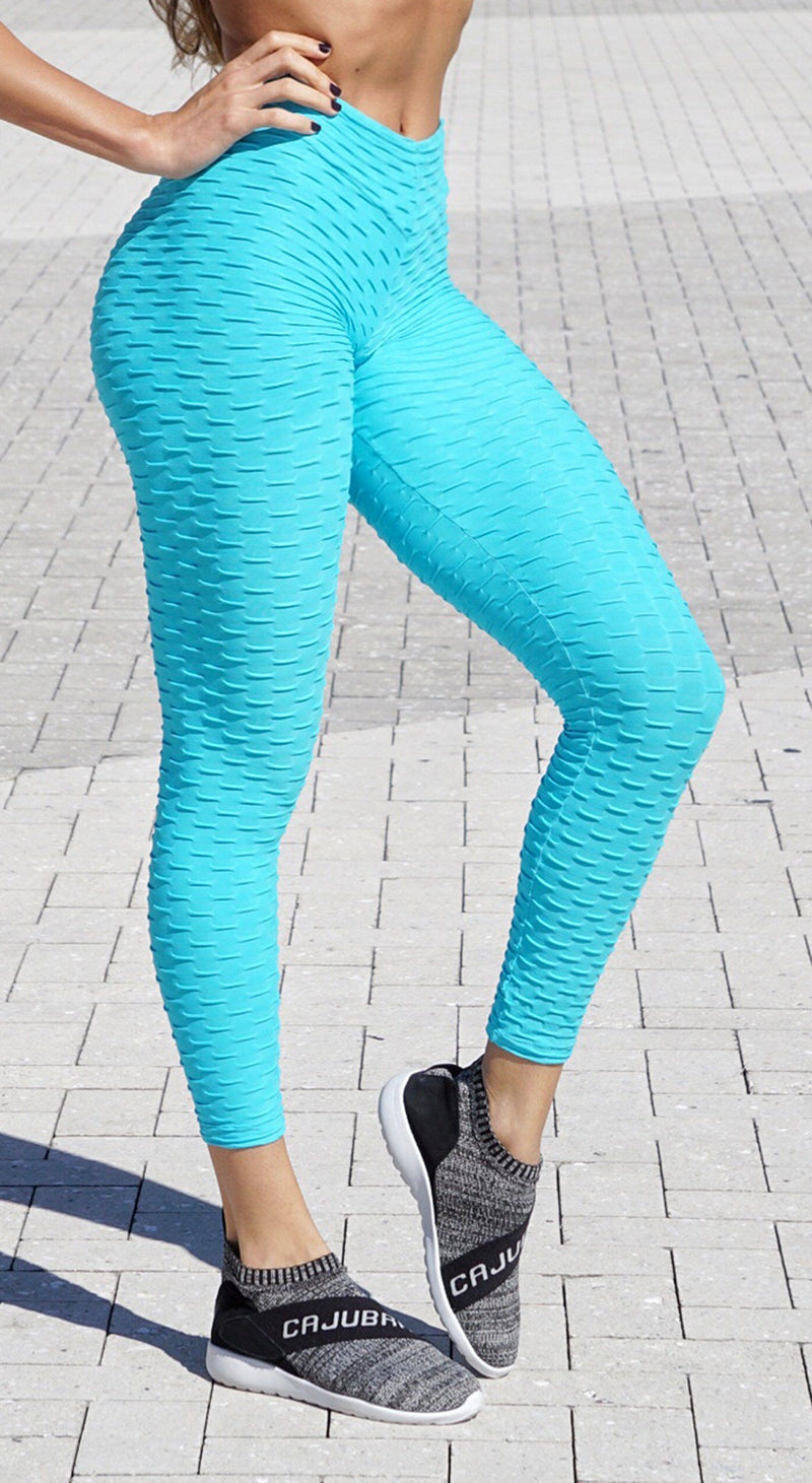 Brazilian Legging -  Anti Cellulite Honeycomb Textured Scrunch Booty Sky Blue