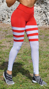 Brazilian Workout Legging - High Waist Scrunch Bum Socks Red & White Stripes