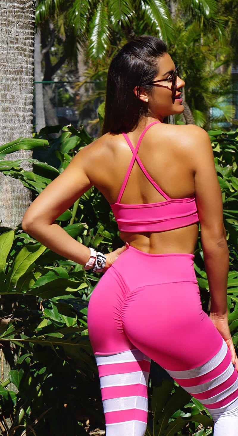 Sports Bra - Glamorous Stripes Hot pink