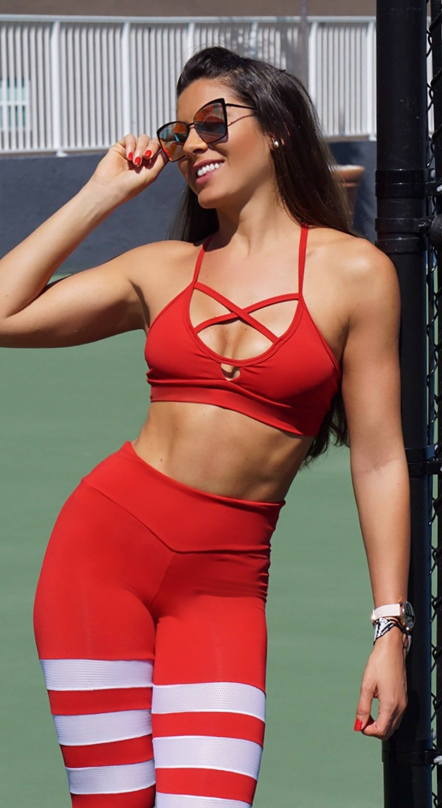 Sports Bra - Glamorous Stripes Red