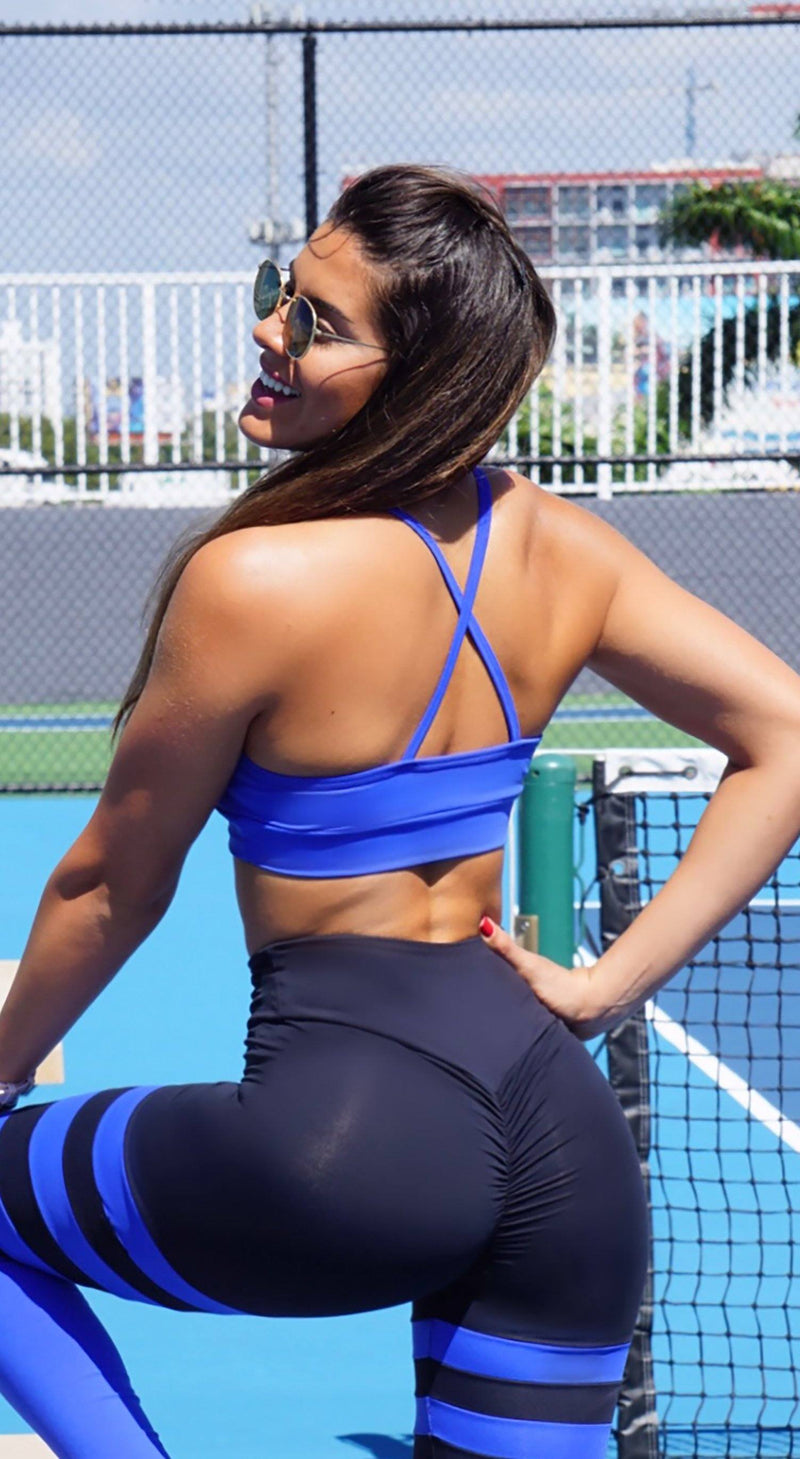 Sports Bra - Glamorous Stripes Royal Blue
