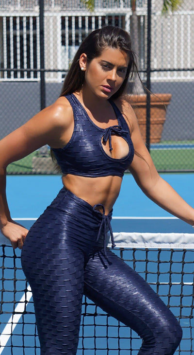 Sports Bra - Glam Honeycomb Shiny Navy