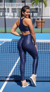 Brazilian Workout Leggings - High Waist Zero Flaws Textured Shiny Navy