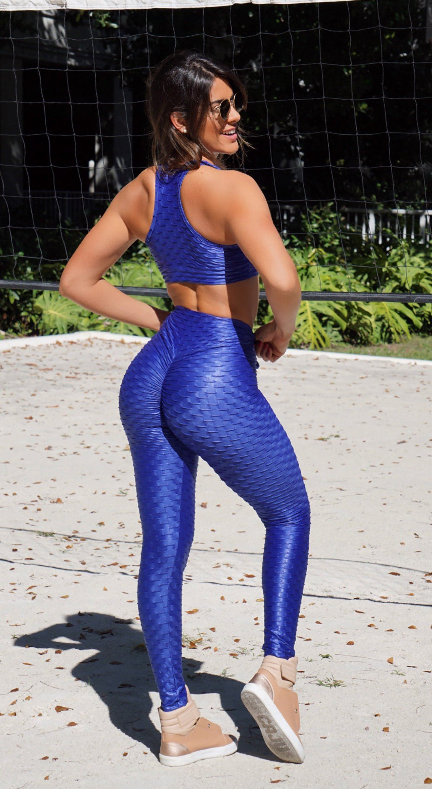 Top Rio Shop - Brazilian Workout Leggings - High Waist Zero Flaws Textured  Shiny Royal Blue 76623dab0