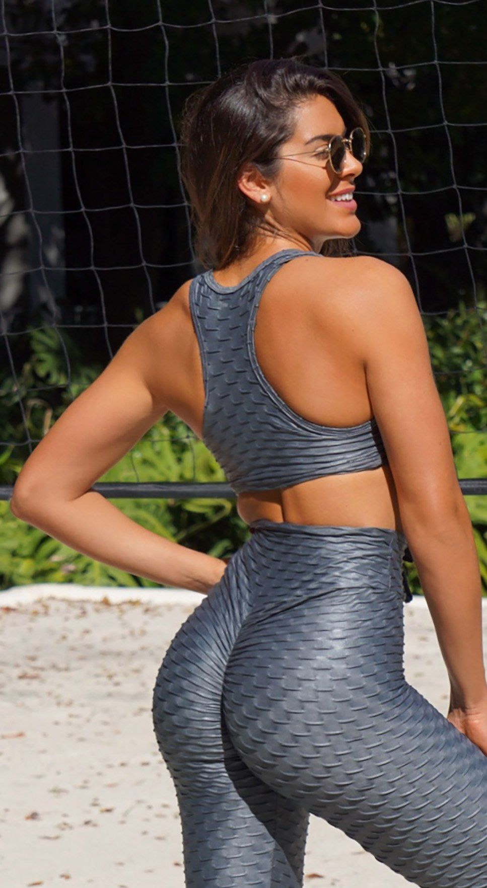 Sports Bra - Glam Honeycomb Shiny Gray