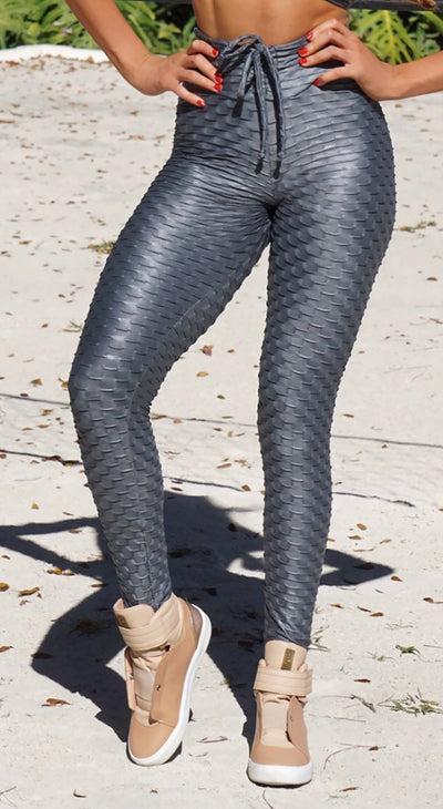 Brazilian Workout Leggings - High Waist Zero Flaws Textured Shiny Gray