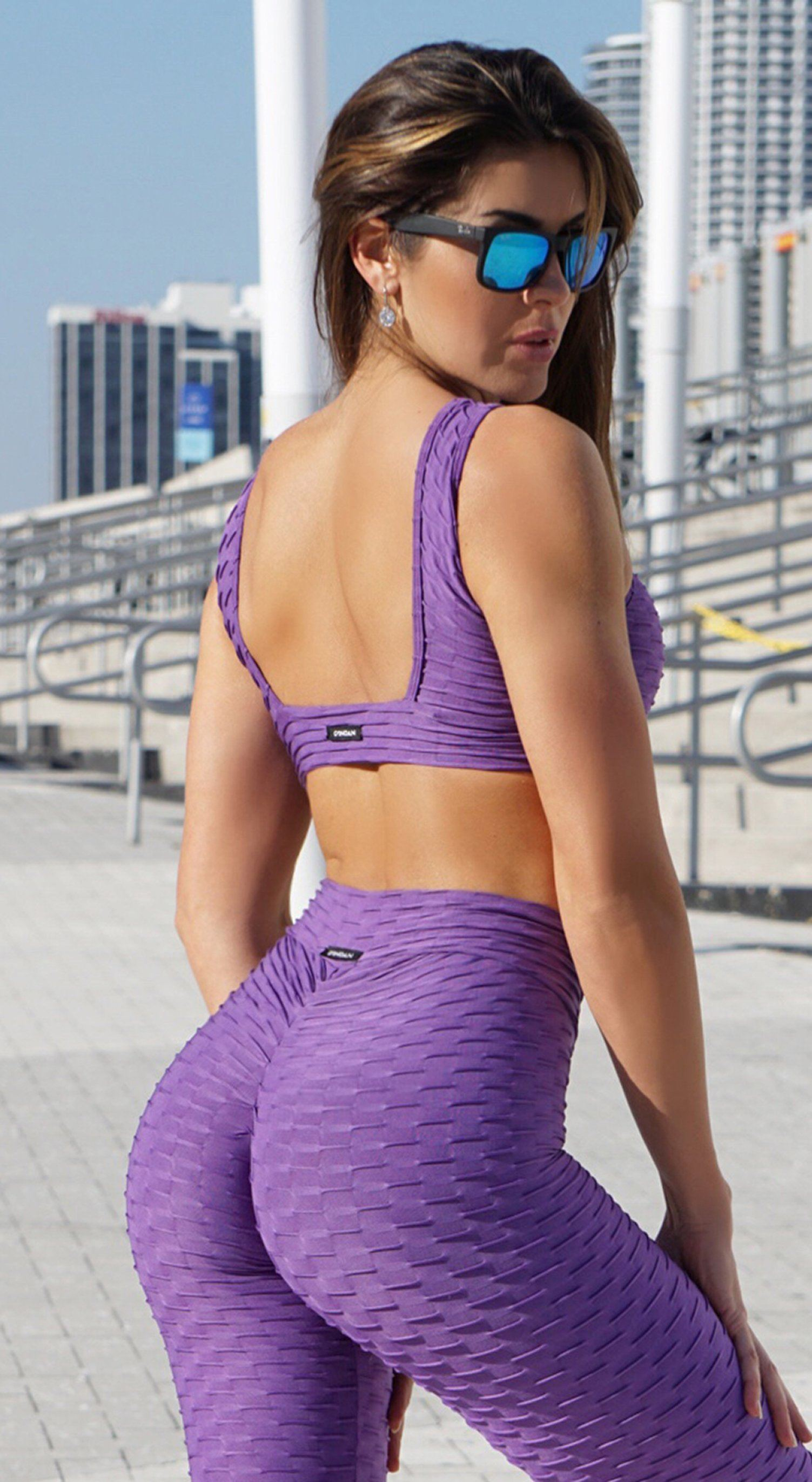 Brazilian Sports Bra - Honeycomb Cross Over Purple