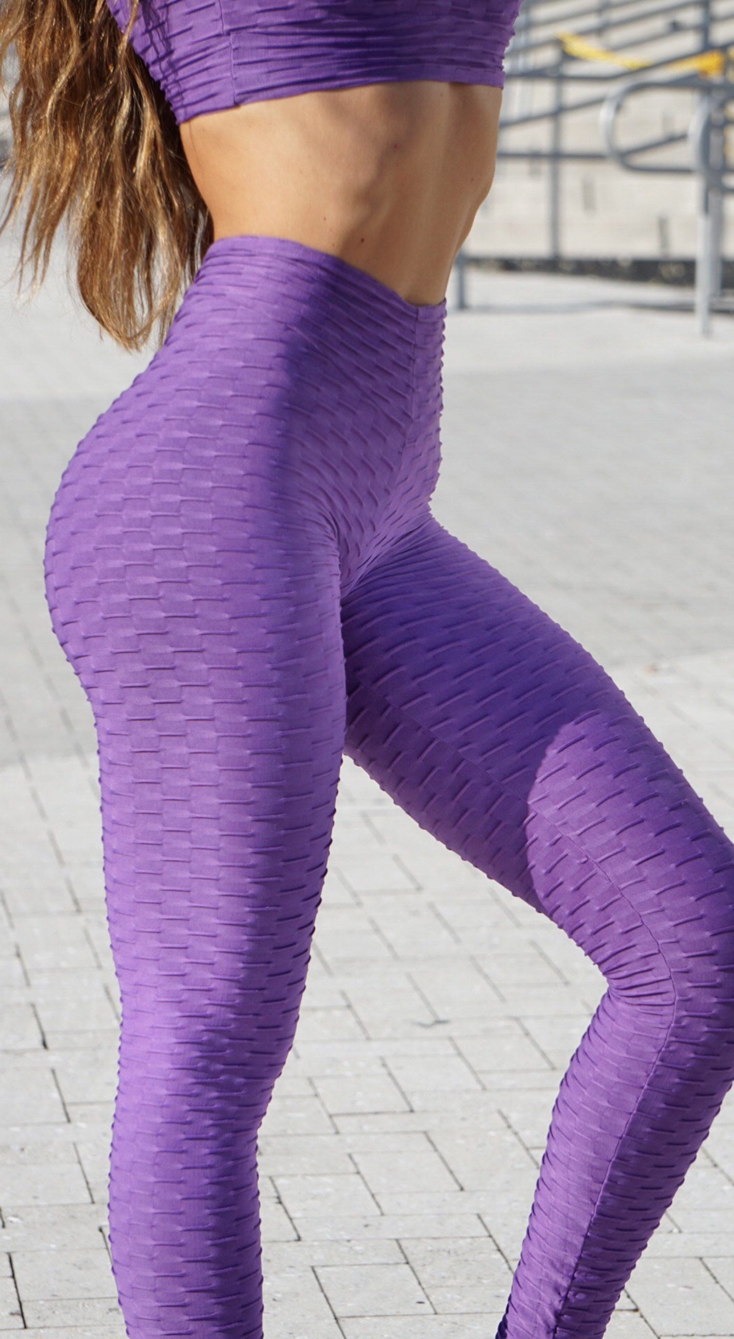 Anti Cellulite Honeycomb Textured Scrunch Booty Purple Leggings