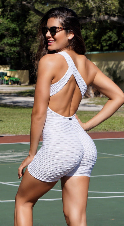 Short Fitness Jumpsuit - Honeycomb Scrunch Booty White