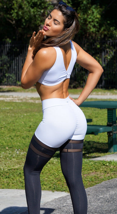 Brazilian Workout Legging - Scrunch Booty Socks Leggings Black & White
