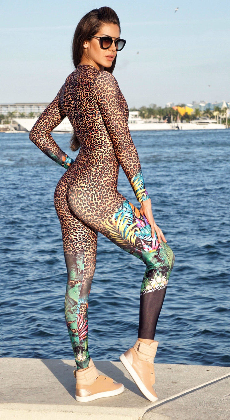 Brazilian Workout Jumpsuit - Long Sleeve Jaguar & Floral Print