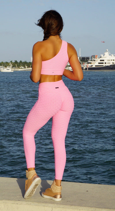 Brazilian Legging -  Anti Cellulite Textured Heart Booty Effect Pink