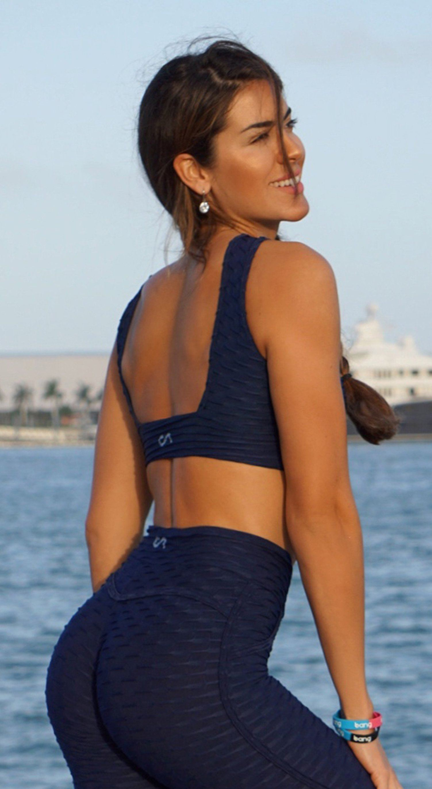 Brazilian Sports Bra - Honeycomb Cross Over Navy