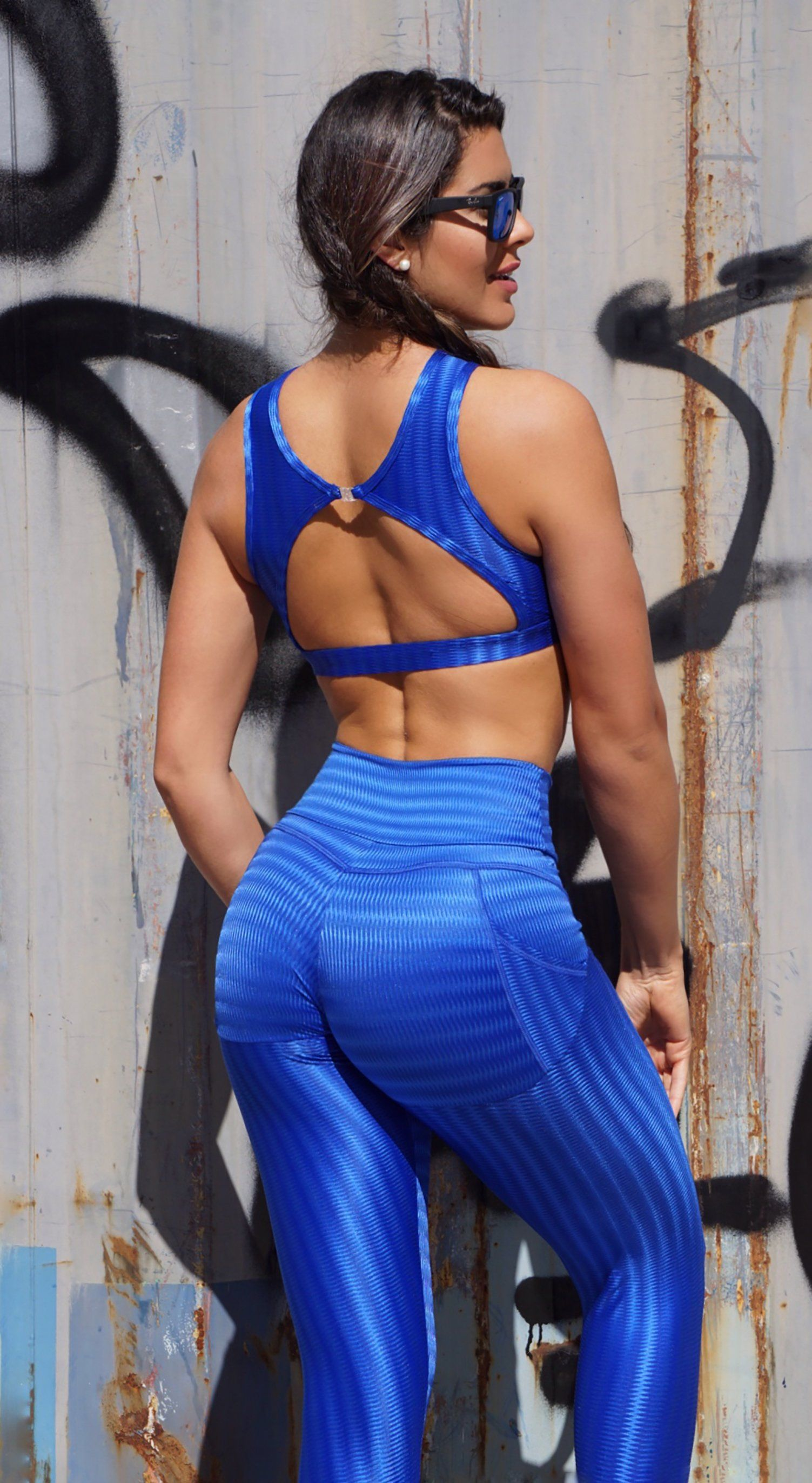 Brazilian Workout Legging - Push Up Butt Lift Royal Blue