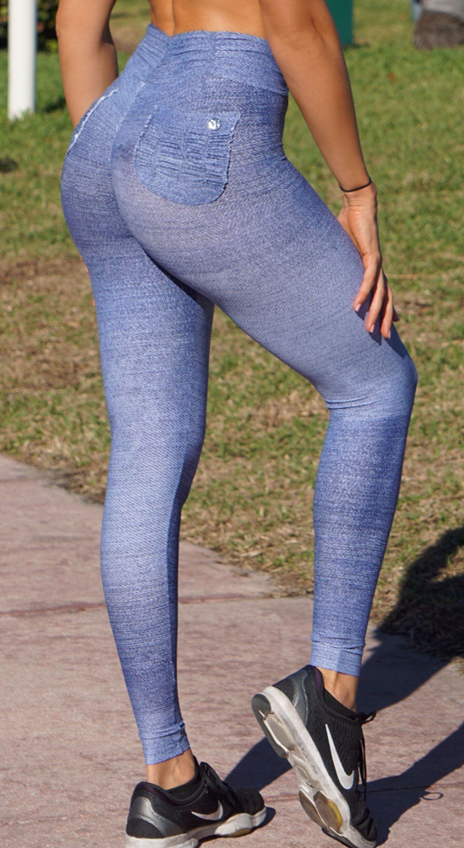 Brazilian Workout Legging - Booty Up Pockets Fake Jeans