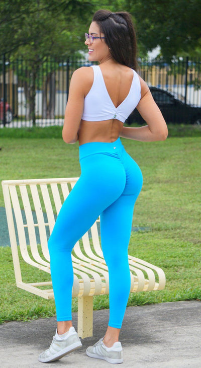 Brazilian Workout Legging - Scrunch Booty Lift! Deep Sky Blue