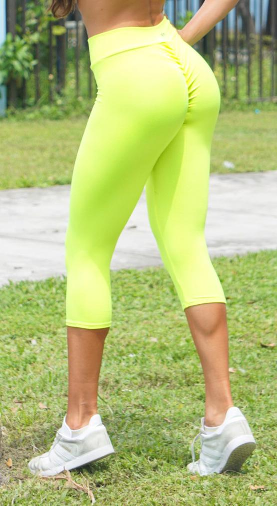 Brazilian Workout Capri Pants - Scrunch Booty Lift! Neon Yellow