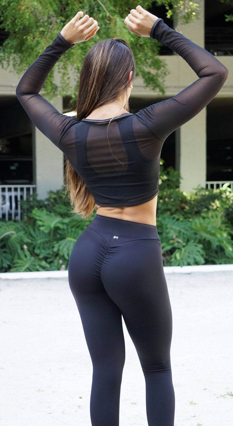 Brazilian Workout Top - Top Cropped Mesh Black