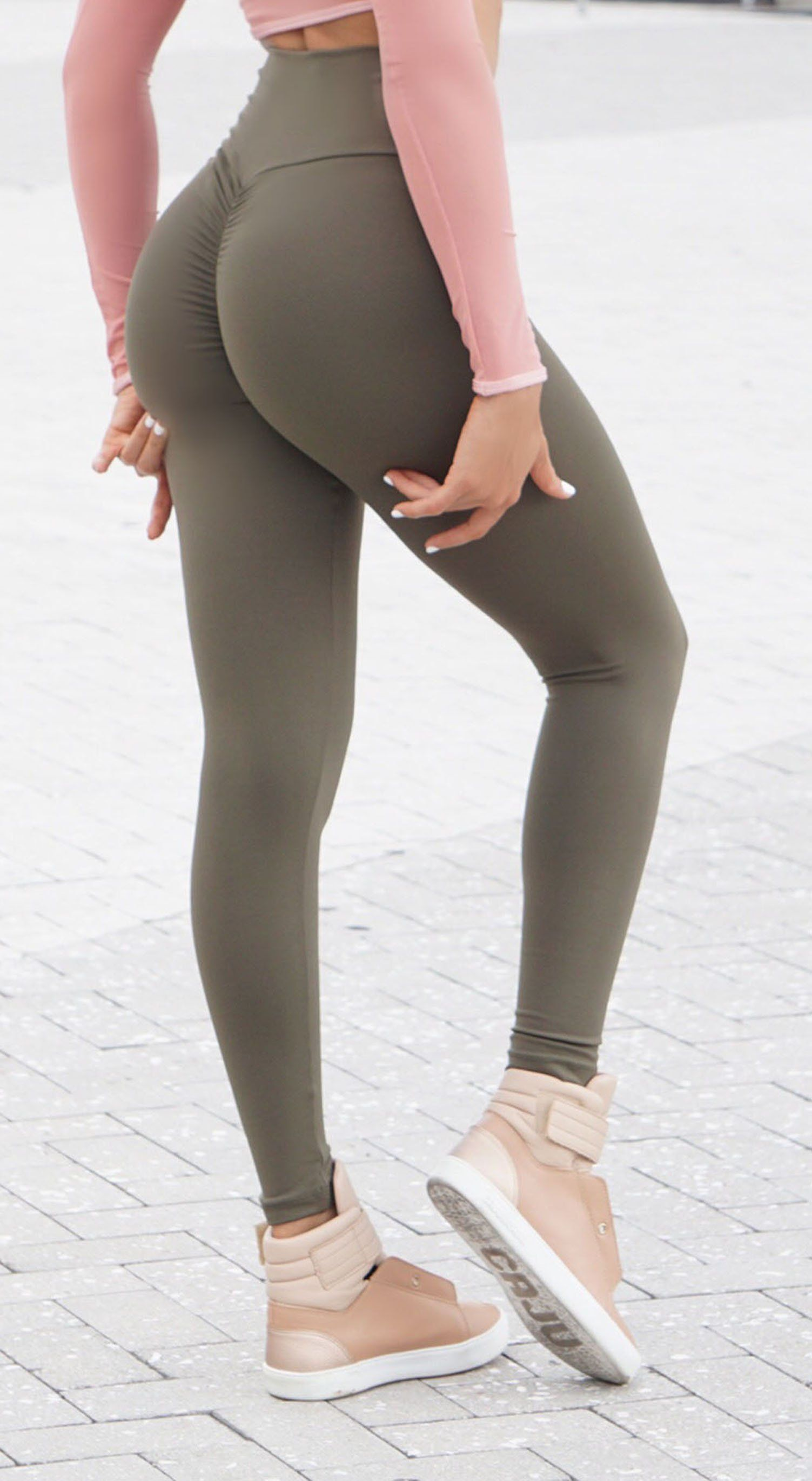 Brazilian Workout Legging - High Waist Scrunch Booty Cut V Army Green