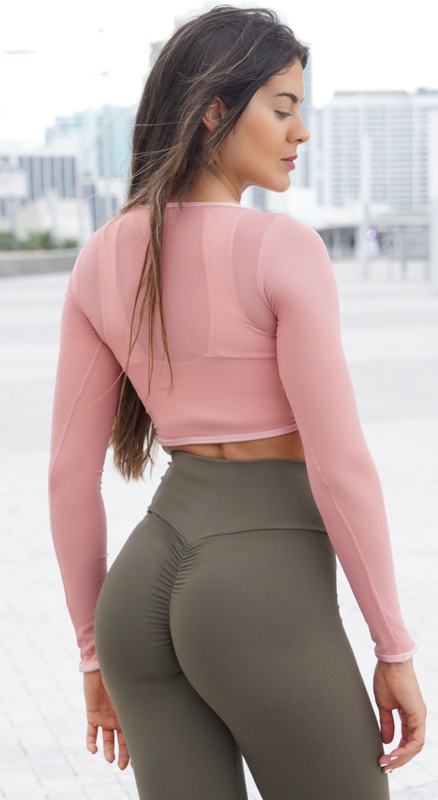 Brazilian Workout Top - Top Cropped Mesh Nude Pink