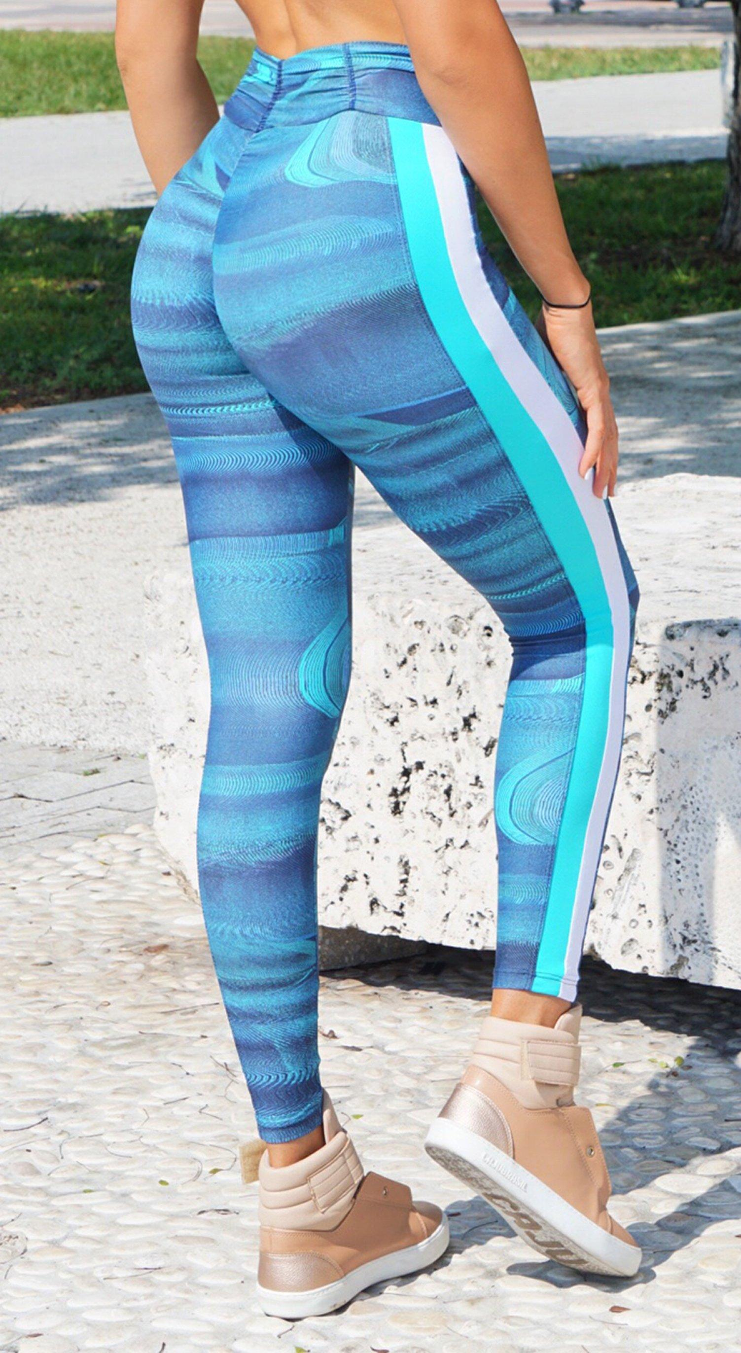 Brazilian Workout Legging - Booty Up Side Stripes Jade Blue Print