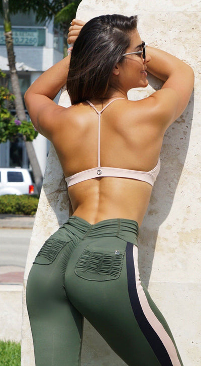 Sports Bra - Basic Stripes Nude Pink