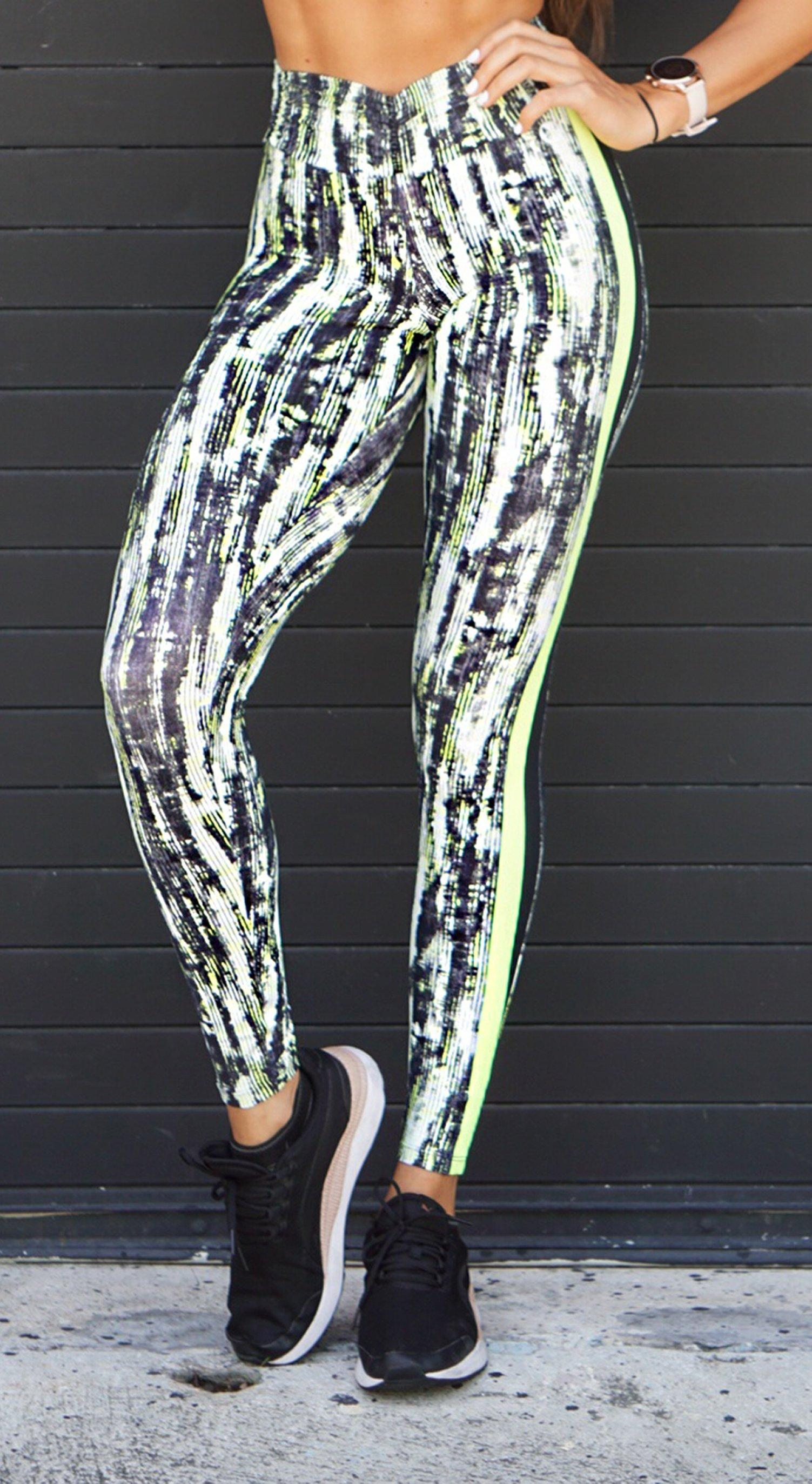 Brazilian Workout Legging - Booty Up Side Stripes Neon Power Print