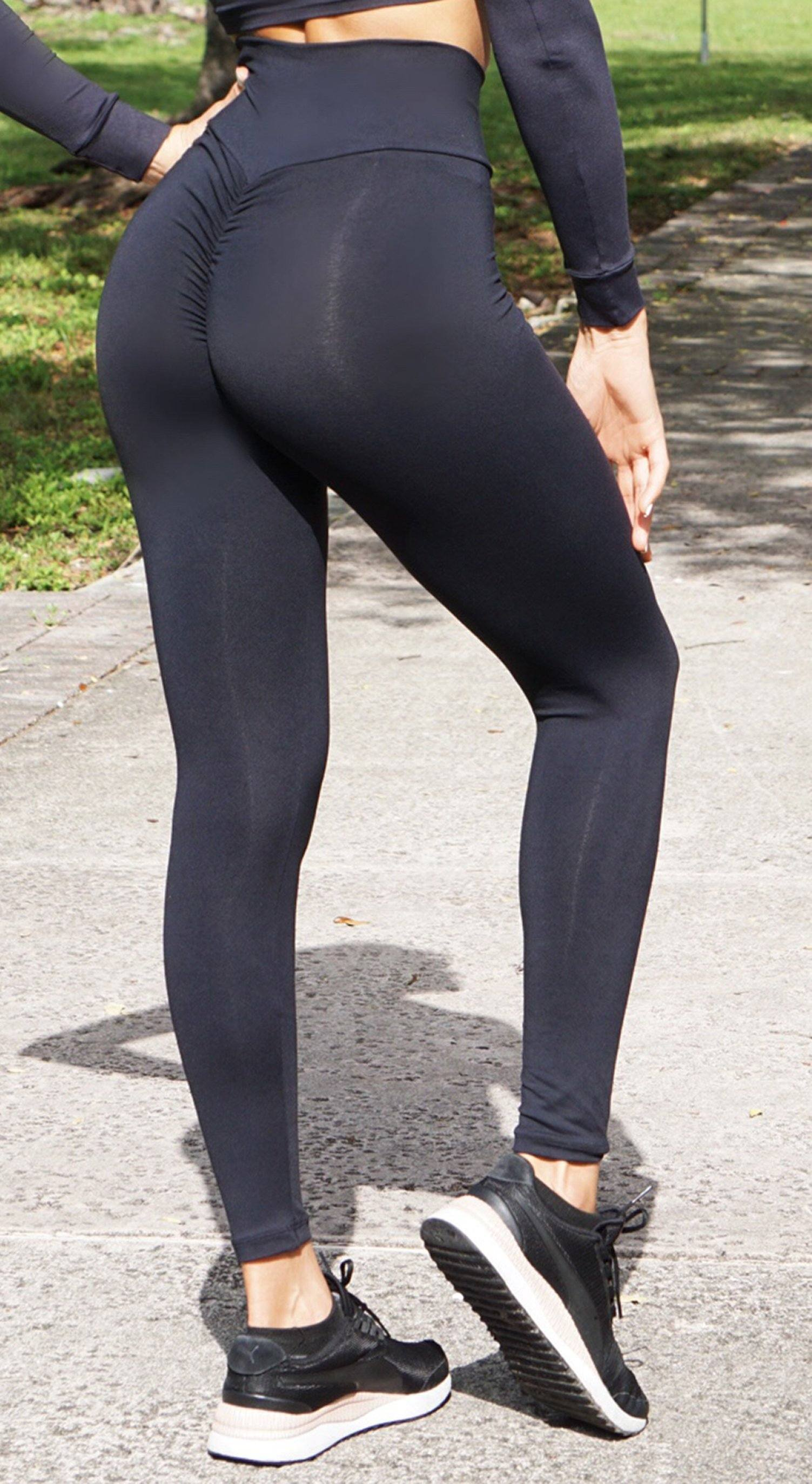 Brazilian Workout Legging - High Waist Scrunch Booty Cut V Black