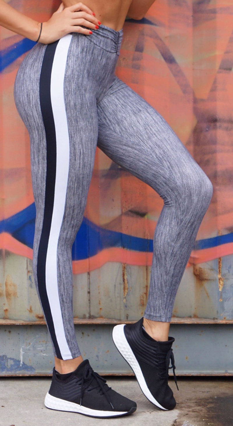 Brazilian Workout Legging - Booty Up Side Stripes Grey