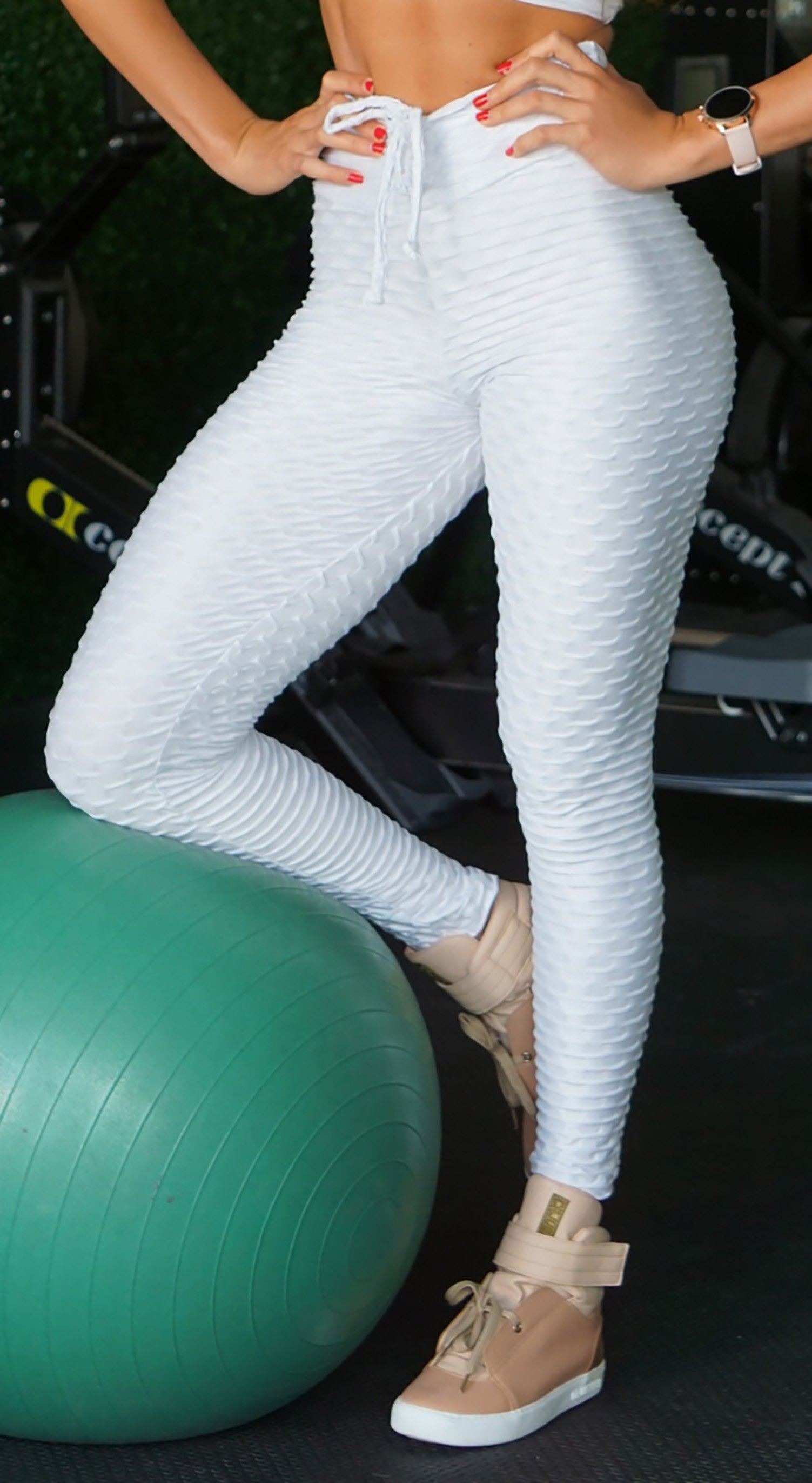 High Waist Zero Flaws Textured Shiny White Leggings