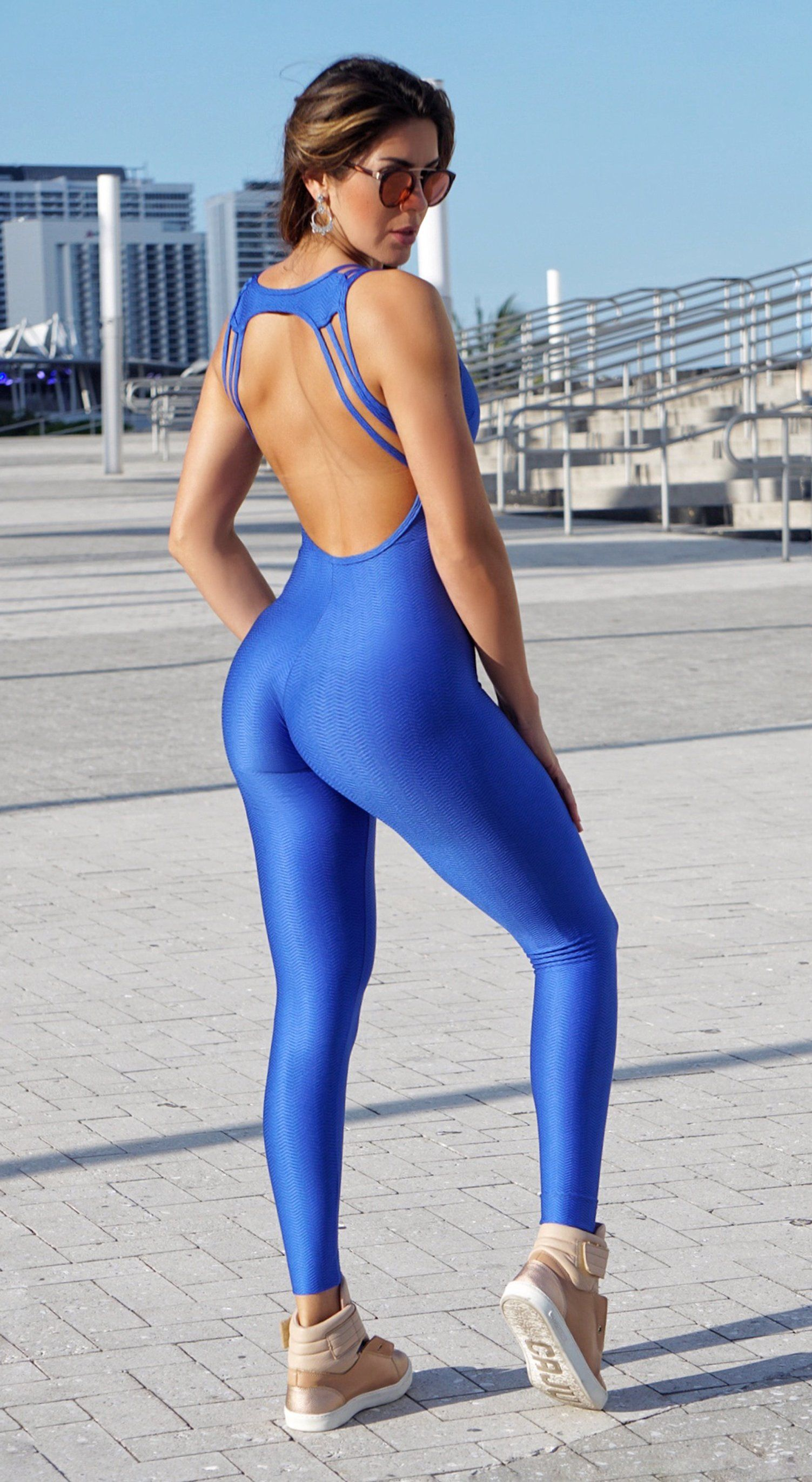 Brazilian Workout Jumpsuit - Strappy Royal Blue