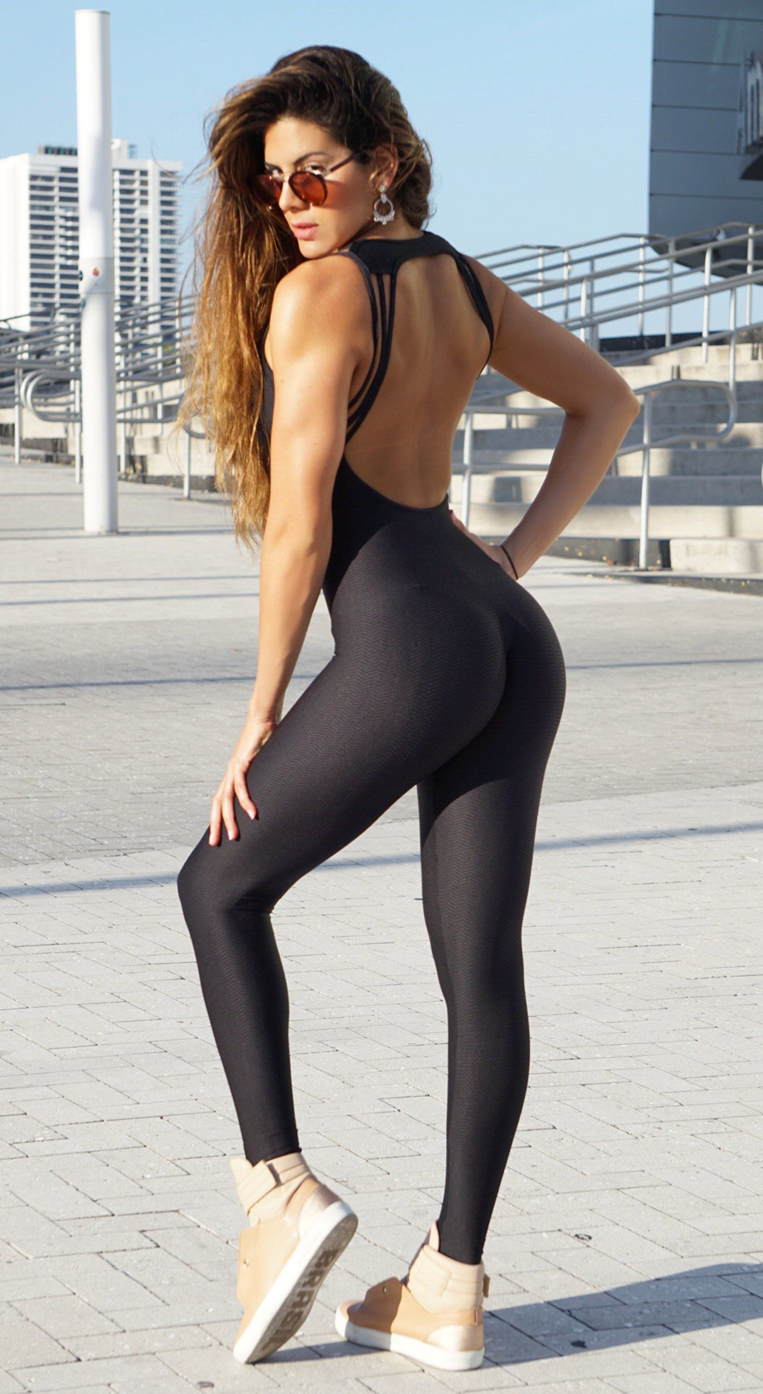 Brazilian Workout Jumpsuit -  Textured Strappy Black