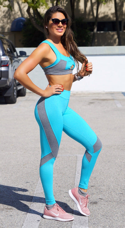 Workout Legging - Sea Green and Grey Fairy
