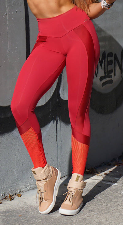 Brazilian Workout Legging - NZ Profile Red
