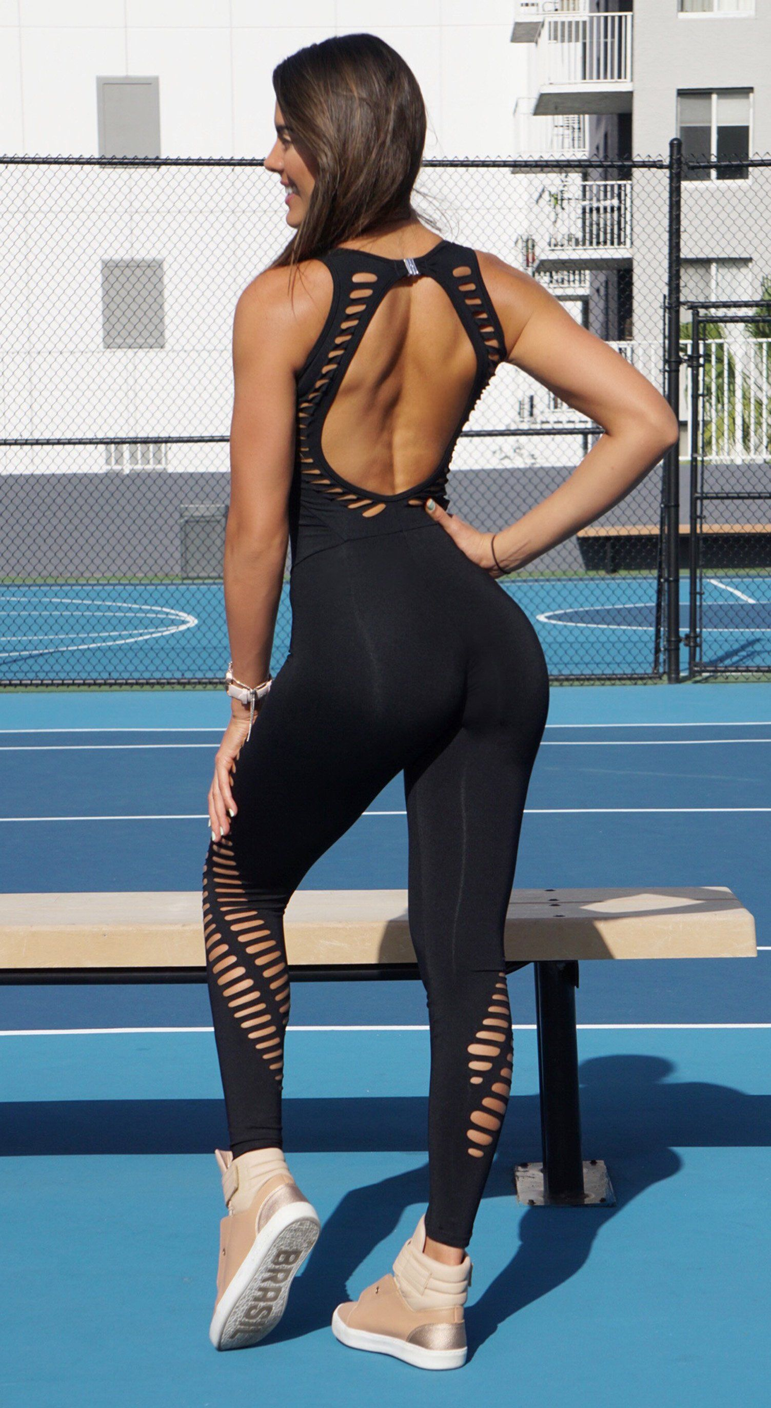 Brazilian Workout Jumpsuit - Fitness NZ Laser Black
