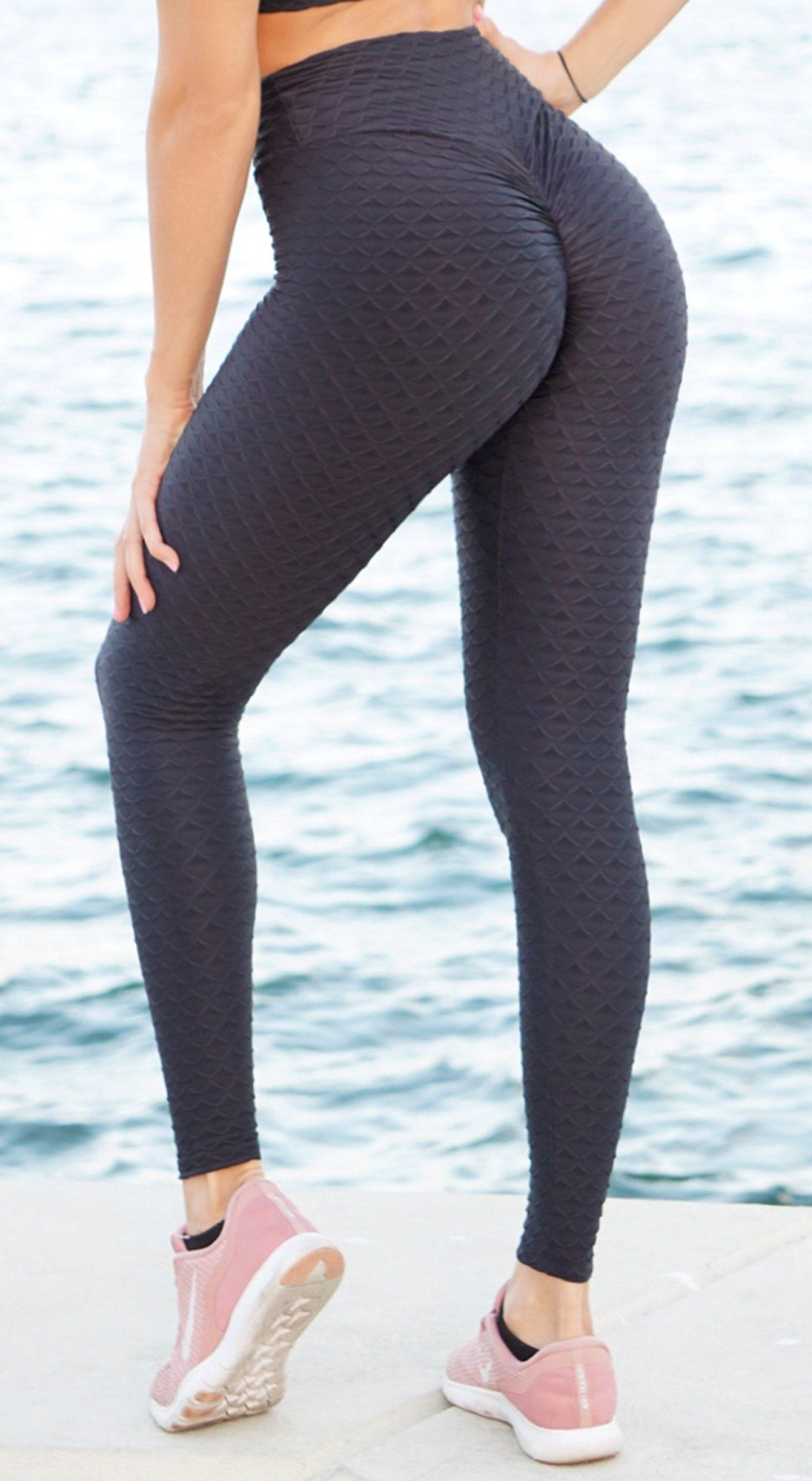 Anti Cellulite - High Waist Textured Scrunch Booty Mermaid Black Legging