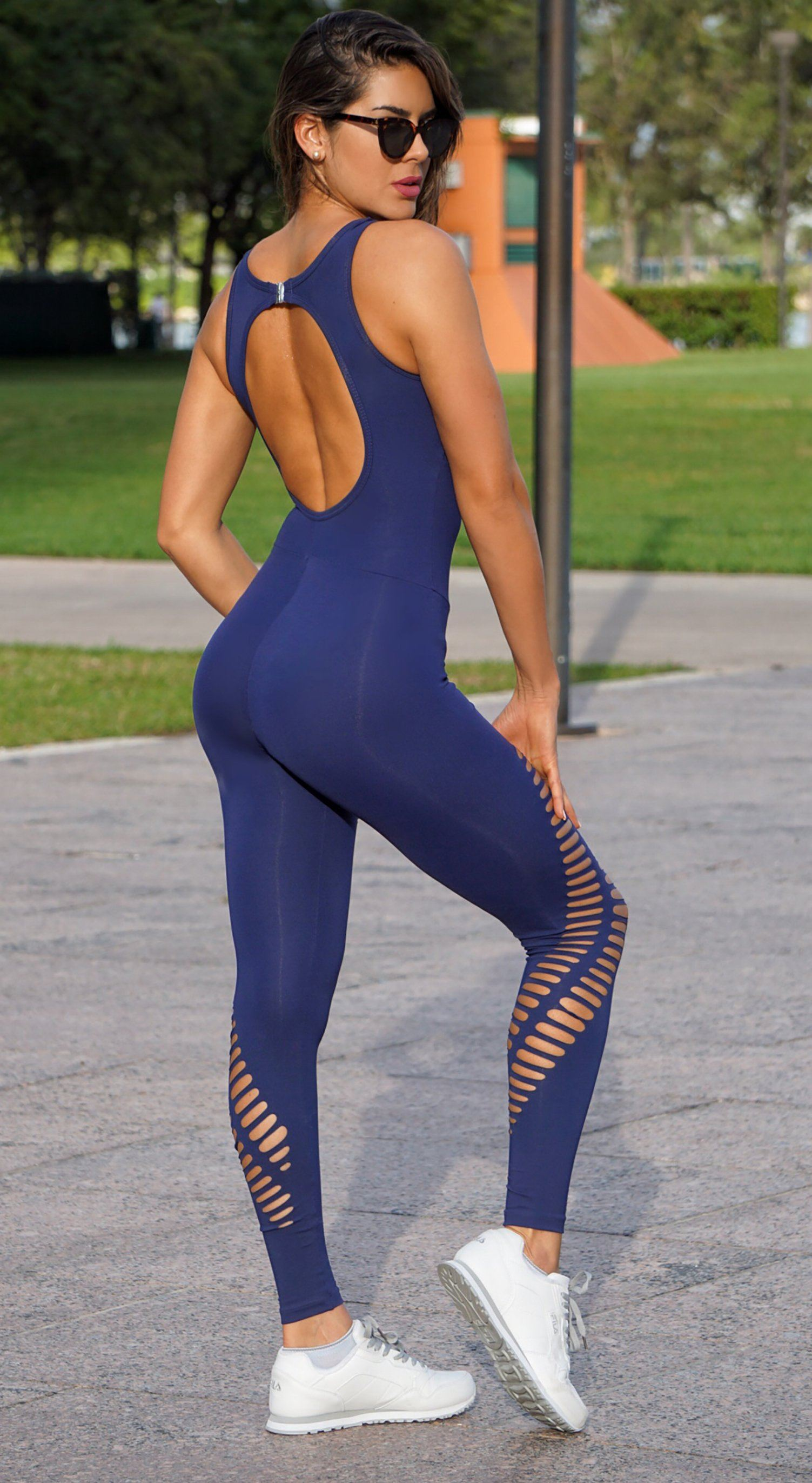 Brazilian Workout Jumpsuit - NZ Rio Laser Cut Navy