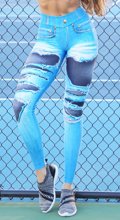 Workout Fake Jeans Legging - Mesh Ripped Fake Jeans