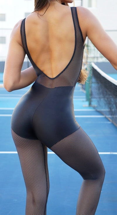 Brazilian Workout Jumpsuit - Spot Shiny Black